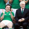 Ireland captain Brian O'Driscoll and team manager Paul McNaughton have a laugh together before the photographs are taken