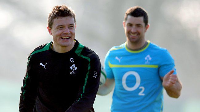 Ireland's Brian O'Driscoll and Rob Kearney