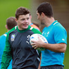 Rob Kearney, who could make his Rugby World Cup bow on Saturday, is deep in discussion with his Leinster colleague Brian O'Driscoll