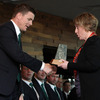 Ireland skipper Brian O'Driscoll gratefully accepted a gift from Queenstown Lakes Mayor Vanessa van Uden who hosted the civic reception