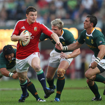 Brian O'Driscoll makes a break during the first half in Durban
