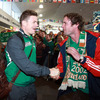 Once they stepped out of the arrivals hall, Brian O'Driscoll and his team-mates were warmly greeted by numerous well wishers who had waited to meet them