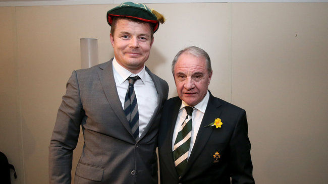 Brian O'Driscoll wearing his 133rd and final Ireland cap