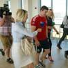 Despite their high heels, reporters Sinead Kissane and Jacqui Hurley did well to keep up with a fast-moving Brian O'Driscoll during a short interview