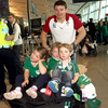 Pictured with his nieces and nephew, Brian O'Driscoll said it was 'an incredible welcome home' and was admittedly 'blown away by the support'