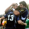 Brian O'Driscoll is mobbed by Rob Kearney and Shane Horgan after scoring his and Leinster's second try