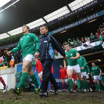 Brian O'Driscoll leads out the Ireland squad in Wellington