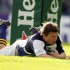 After linking with Felipe Contepomi, Brian O'Driscoll dives over for his first Heineken Cup try since January 2007