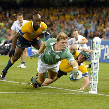Brian O'Driscoll scores against Australia during the 2003 World Cup