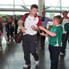 Brian O'Driscoll, who was sought out for an autograph, and the rest of the players got a warm reception inside Dublin Airport