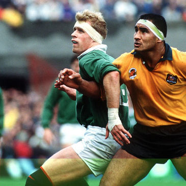 Brian Robinson in action against Australia during the 1991 quarter-final