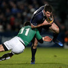 Connacht winger Brian Tuohy goes low to tackle Leinster's Fergus McFadden, who lined out at centre alongside Eoin O'Malley