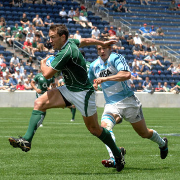 Ireland 'A' winger Brian Tuohy in action in the Churchill Cup