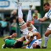 Connacht's Brian Tuohy scraps for possession with Exeter number 8 Richard Baxter during the pre-season friendly