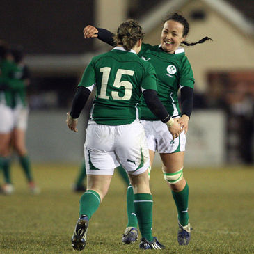 Ireland's Niamh Briggs and Sinead Ryan celebrate