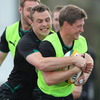 Tommy Bowe closes down Ronan O'Gara during a light-hearted moment in Tuesday's session