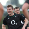 Team captain Brian O'Driscoll sees the funny side of things as the Irish squad take part in the warm-up