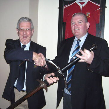 Reggie McHugh and Chris Moffat with the Ceremonial Sword