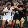 Former Ulster forward Matt Mustchin gets his tackle in on the province's long-time full-back Bryn Cunningham