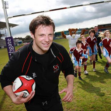 Ulster's Bryn Cunningham at the Primary Schools Mini Rugby Festival launch