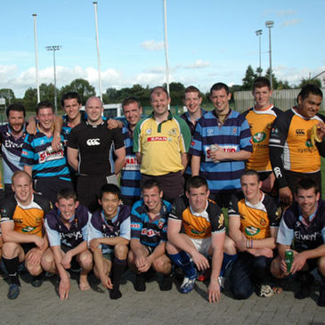 The Buccaneers and Castlebar players mingle together