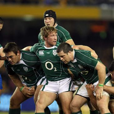 The Irish front row of Tony Buckley, Jerry Flannery and Marcus Horan