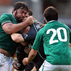 Connacht replacement Johnny O'Connor takes the ball into contact, with Tony Buckley and Conor Murray on defensive duty for the Ireland Select XV
