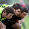 Tony Buckley, Damien Varley and Wian du Preez combine in the front row during scrummaging practice for the Munster forwards