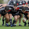 Tony Buckley, Damien Varley and Wian du Preez are pictured during scrummaging practice for the Munster forwards