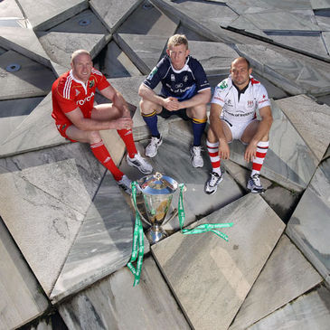 Paul O'Connell, Leo Cullen and Rory Best with the Heineken Cup trophy