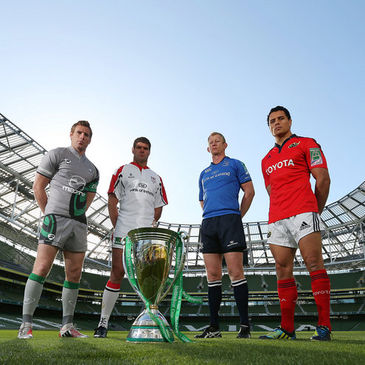 The provincial captains with the Heineken Cup trophy