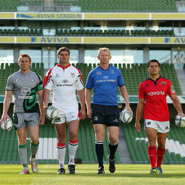 The provincial captains on the Aviva Stadium pitch