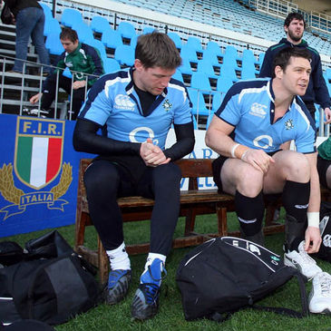 Tomas O'Leary, Ronan O'Gara and David Wallace put their boots on at Stadio Flaminio