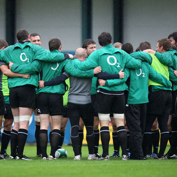 The Ireland 'A' players huddle together