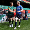Northampton captain Dylan Hartley is greeted by his Leinster counterpart Leo Cullen as they head onto the pitch for a photocall