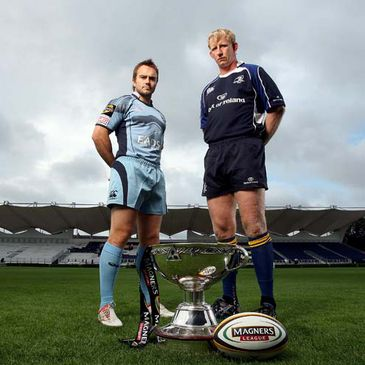 Leinster captain Leo Cullen with Rhys Williams of the Cardiff Blues