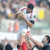Ulster's captain for the day, Carlo Del Fava, claims a lineout ball at the Liberty Stadium