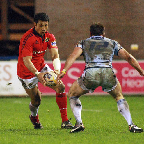 Casey Laulala in action against his former club Cardiff