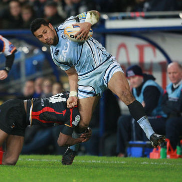 Casey Laulala in action for the Cardiff Blues
