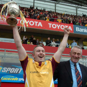 Bruff's Cathal O'Regan with the Munster Senior Cup trophy