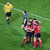 Congratulations all round as Rua Tipoki, David Wallace, Keith Earls and Barry Murphy celebrate Doug Howlett's try