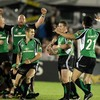 The Connacht players cannot contain their joy after hanging on for a one-point win over Leinster