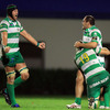 Corniel Van Zyl, Pedro di Santo and Enrico Pavanello celebrate Benetton Treviso's first ever win over Irish opposition