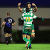 Corniel Van Zyl and Chris Burton can afford to celebrate after Brendan Williams ran in the clinching try for Benetton Treviso