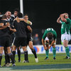 Elation for the Maori players and dejection for the Irish as referee Mark Lawrence blows the full-time whistle