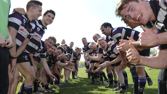 Terenure celebrate their Division 1B title success