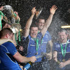 The champagne corks are popped as the Leinster players celebrate another historic day for Irish rugby at the Millennium Stadium