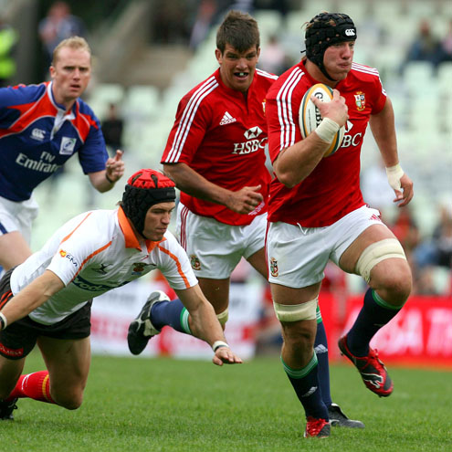 Stephen Ferris darts through for an early try for the Lions