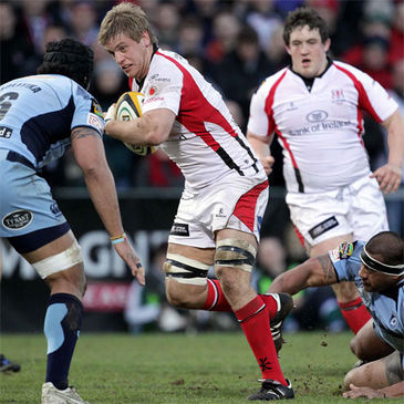 Chris Henry on the attack for Ulster against Cardiff