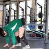 Cian Healy, one of Ireland's try scorers against Wales, works out with a resistance band on the first day back in full training mode